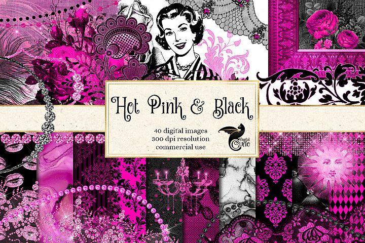 Hot Pink and Black Digital Scrapbook Kit