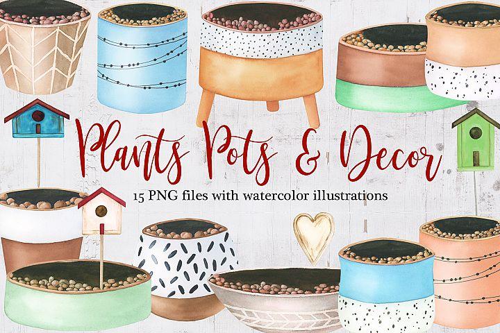 Watercolor Plants pots and decor clipart