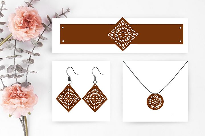 set Earrings svg,barcelet svg,necklace svg,earrings dxf cut