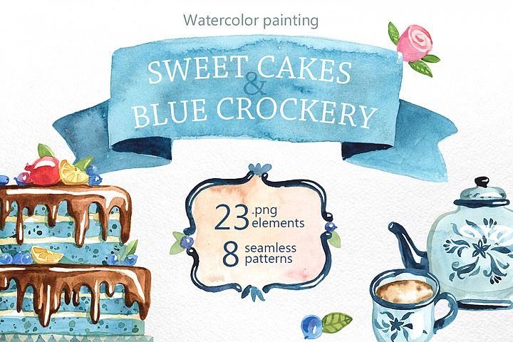 Watercolor cakes and sweets