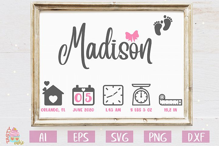 Baby Birth Stats SVG - Birth Announcement Template