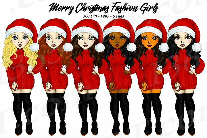Merry Christmas Fashion Girls With Santa Hats Clipart