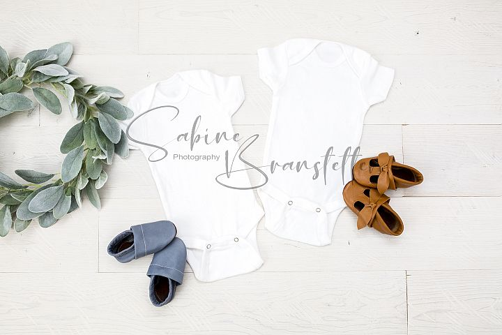 Styled Stock Photo White Twin Babies Bodysuits Mockup