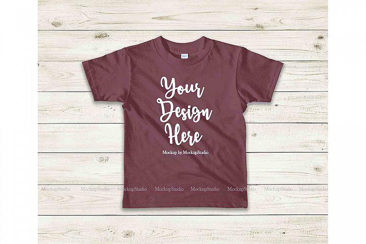 Kids Maroon Tshirt Mockup, Toddler Shirt Flat Lay Mock Up