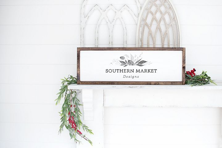 Christmas 8x24 Wood Sign Mock Up Styled Photography