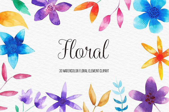 Watercolor Floral Clipart, Watercolor Flowers Illustrations