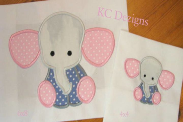Baby Elephant Sitting Machine Applique Embroidery Design