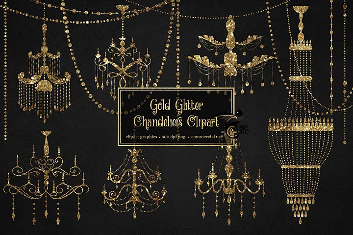 Gold Chandelier Clipart
