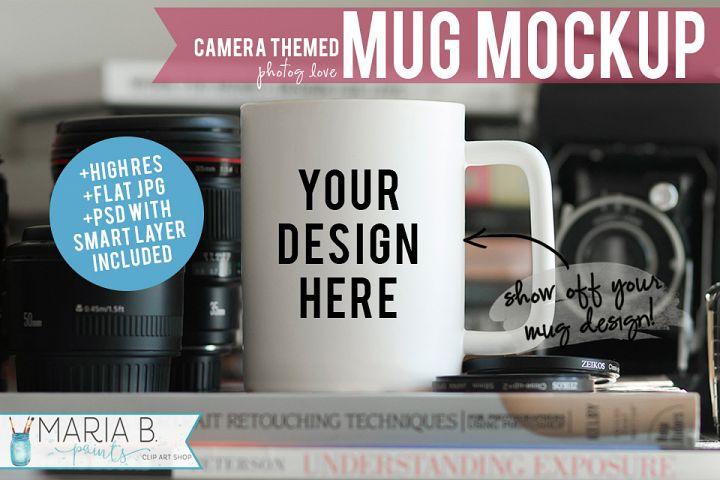 Camera & Photography Themed White Mug Mockup