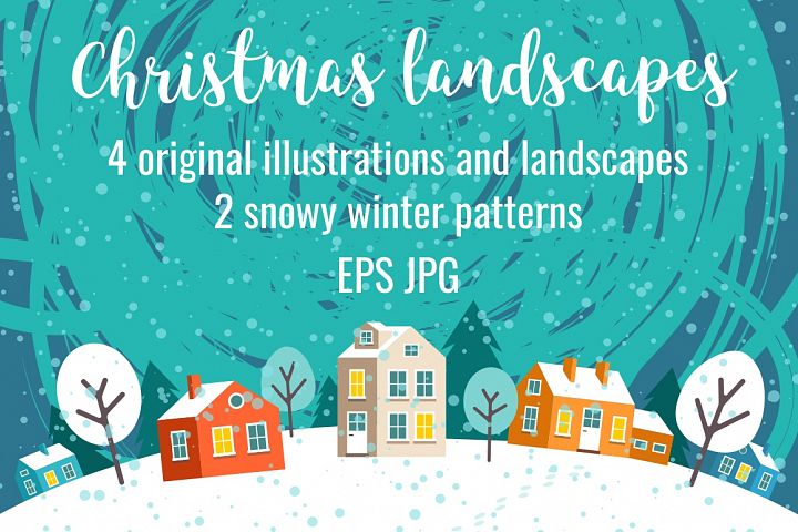 Greeting Christmas cards and patterns