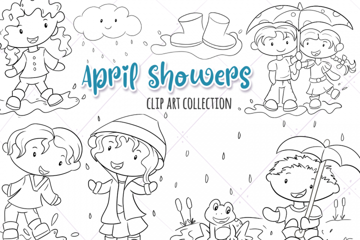 April Showers Digital Stamps