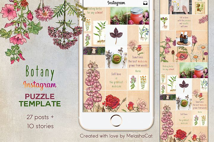 Botany Instagram PUZZLE template plus 10 Instagram stories
