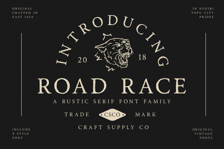 Road Race Font Family Extras
