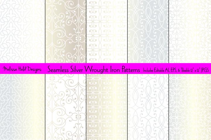 Seamless Silver Wrought Iron Patterns