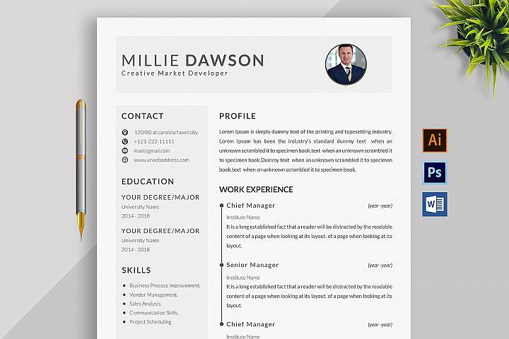Professional Cv Resume Bonus business card Word/PSD,AI