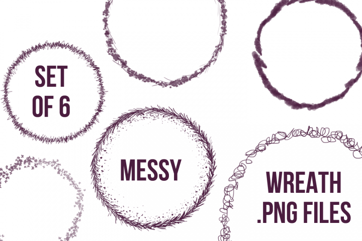 Set of 6 Wreath Clipart PNGs