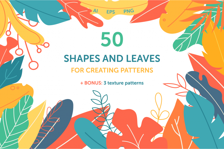 Shapes and leaves foe creating patterns