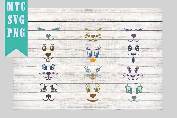Animal Faces Mix & Match SVG Cut File