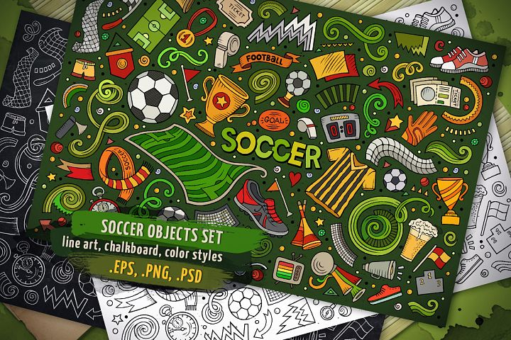 Soccer Objects & Elements Set