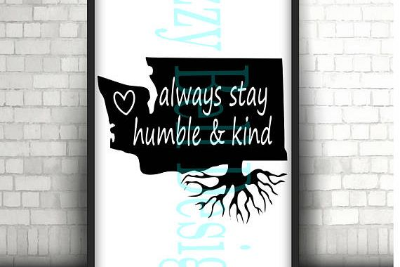 WASHINGTON State Roots PNW, Digital Instant Download,svg Cut Files Silhouette Cricut, WA State, Pacific Nw Outdoors, Quote, Stay humble kind