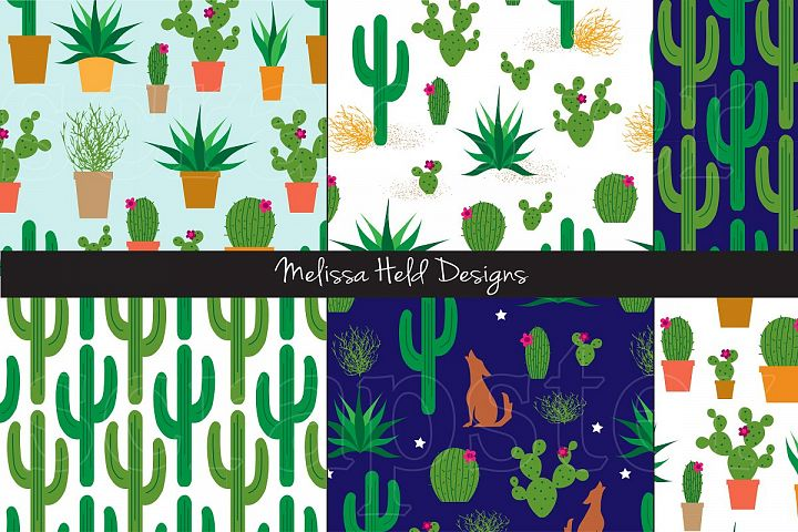 Seamless Cactus Patterns