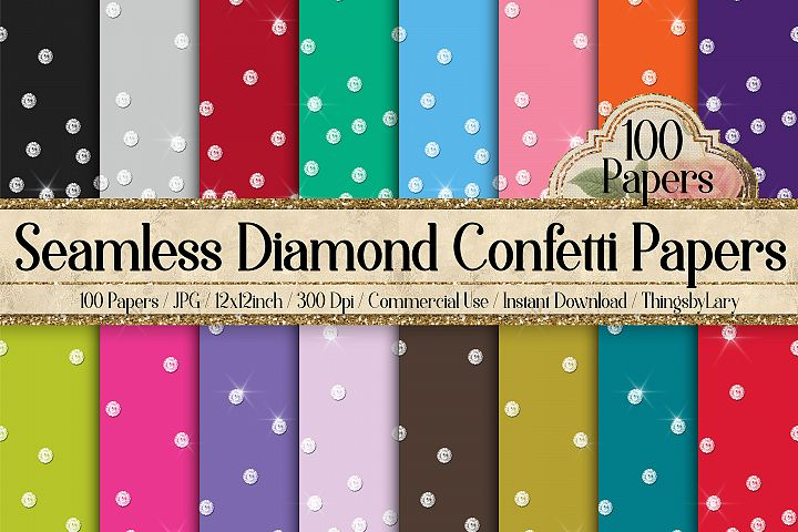 100 Seamless Real Falling Diamond Confetti Digital Papers