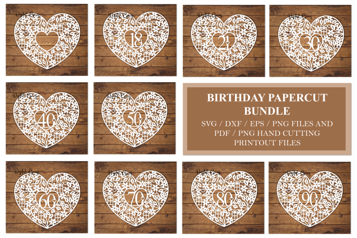 Birthday / Anniversary design bundle. SVG / DXF / EPS / PNG