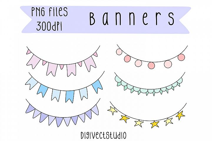 Banner Elements, Bunting Clipart, Bunting Banner Clip Art