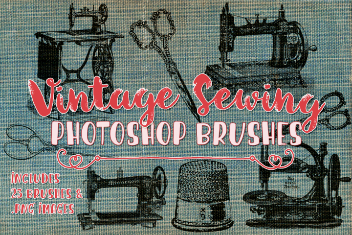 Vintage Sewing Illustrations and Photoshop Brushes