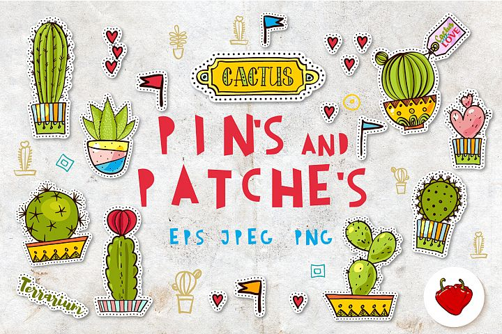 Set Fashion patches with cacti