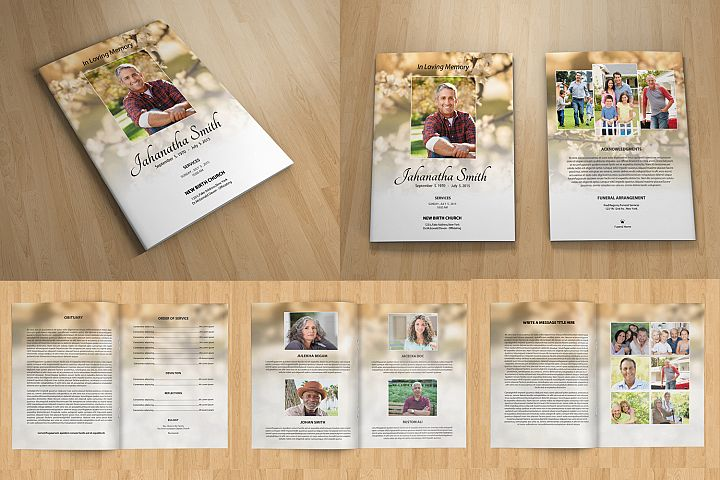 8 Page Funeral Program Template, Photoshop Template