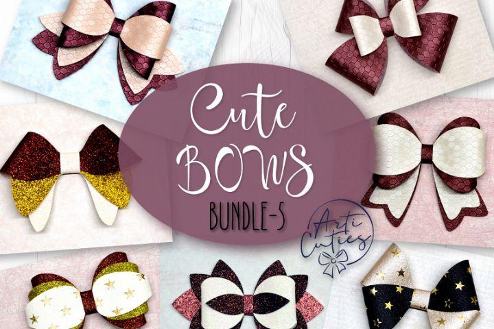 7 Hair bow template SVG, Faux leather bow template Cricut