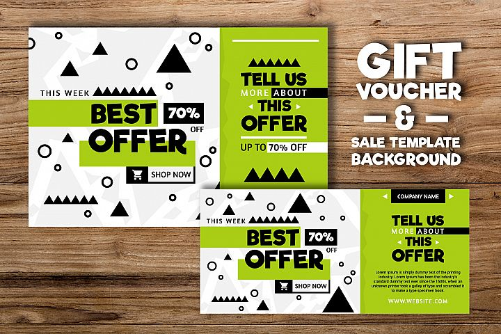 Geometric gift voucher and Sale Background Template