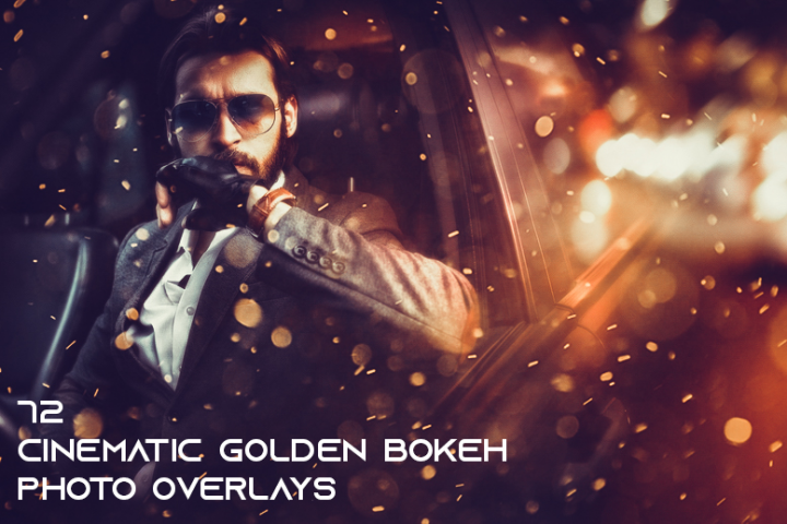 72 Cinematic Golden Bokeh Photo Overlays