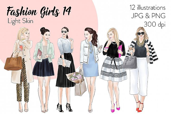 Fashion illustration clipart - Fashion Girls 14 - Light Skin