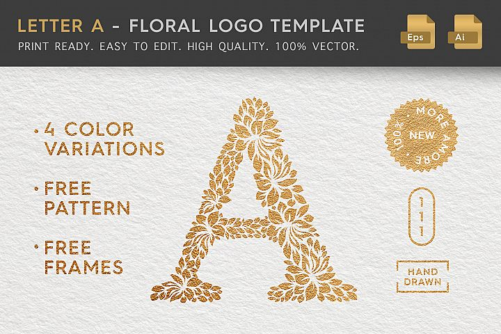 Letter A - Floral Logo Template