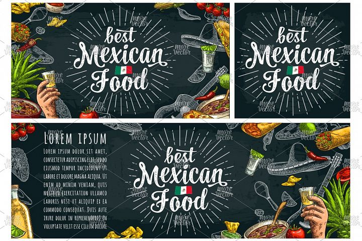 Mexican food handwriting lettering and vintage engraving