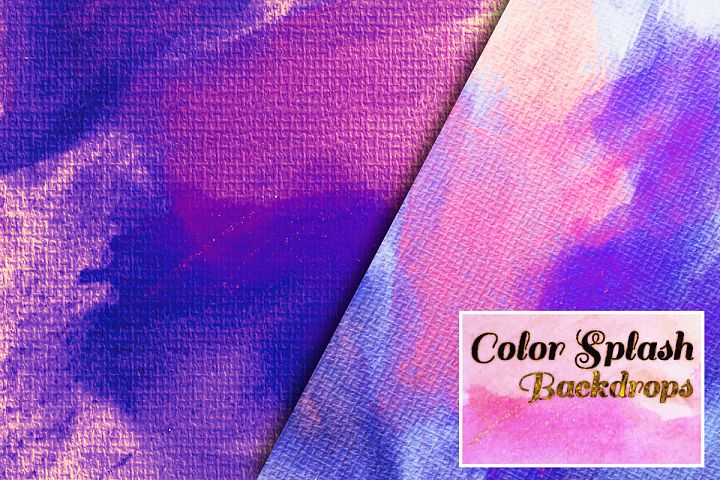 Colorful Splash Backgrounds. Watercolor textured paper pack example image 2