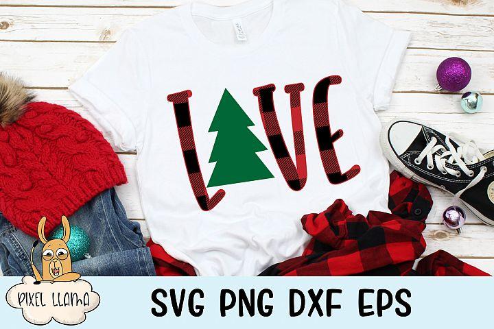 Love Plaid Christmas Tree SVG Cut File