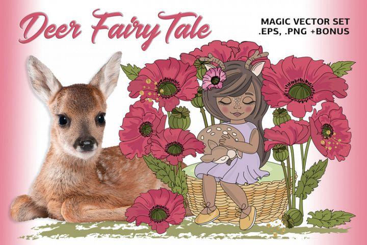 DEER FAIRY TALE Color Vector Illustration Set