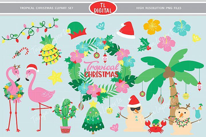 Tropical Christmas Clipart Set - 28 Graphics