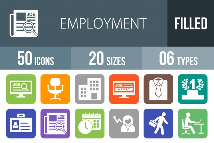 50 Employment Filled Round Corner Icons