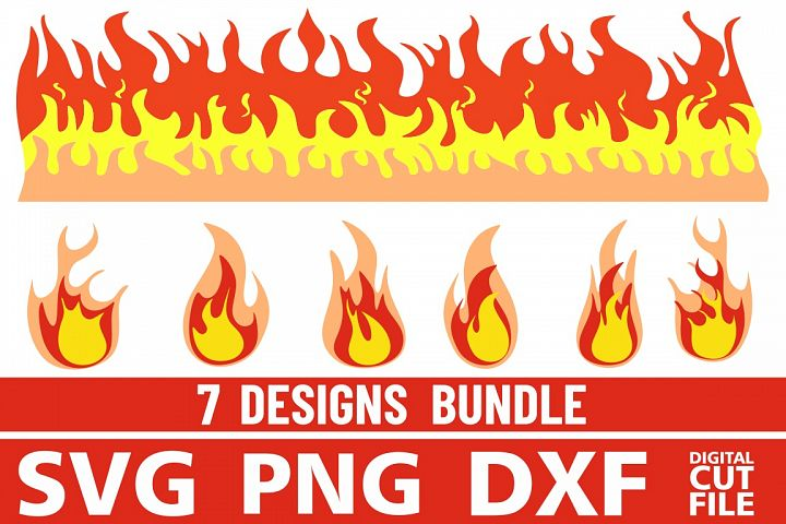 7x Fire bundle svg, Flames vector, Flames, Fire Clipart