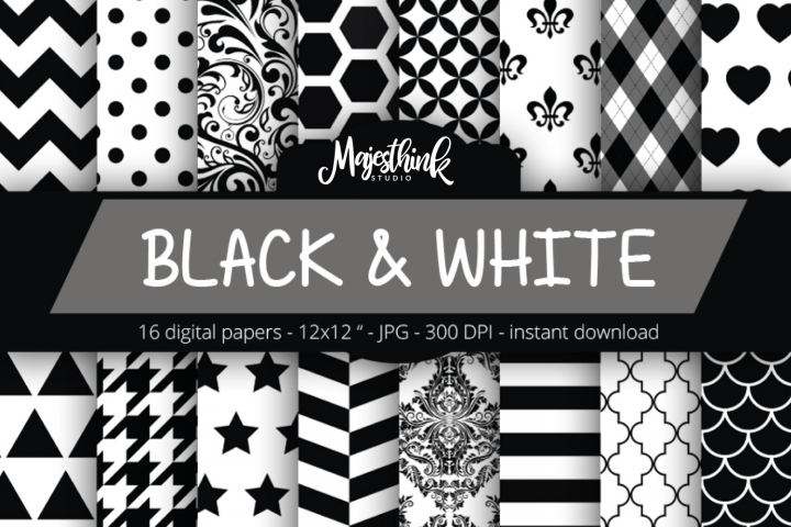 Black & White Digital Paper - with polkadot, stripe, chevron, quatrefoil, floral, damask, hexagon, triangle red pattern for Scrapbooking