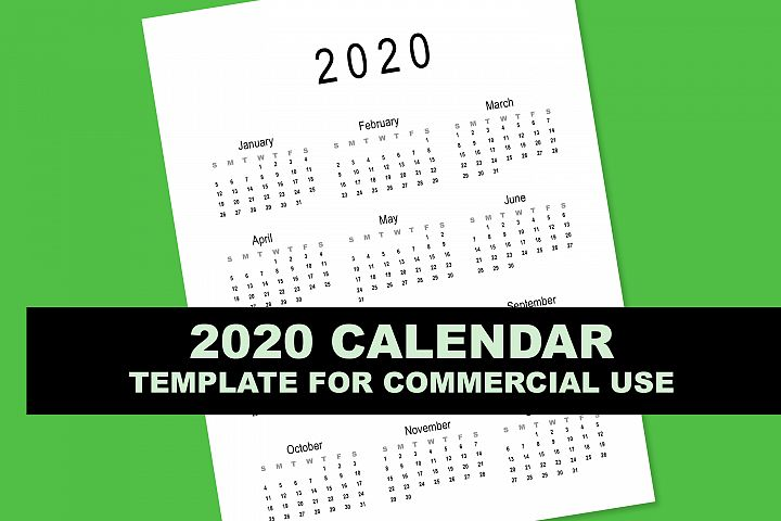 2020 Calendar Template for Commercial Use - PSD, EPS, PDF