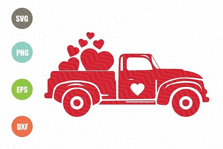 Valentines Red Truck SVG