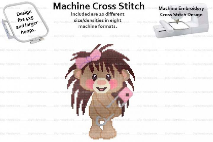 Baby Hedgehog Safety Pin 4x5 Hoop Machine Emb Cross Stitch
