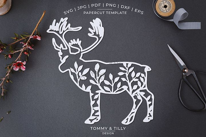 Foliage Deer x 3 - Papercut Template SVG EPS DXF PNG P