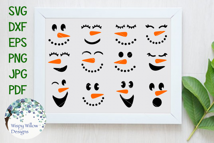 Winter Snowman Faces SVG Cut File and Clipart Bundle
