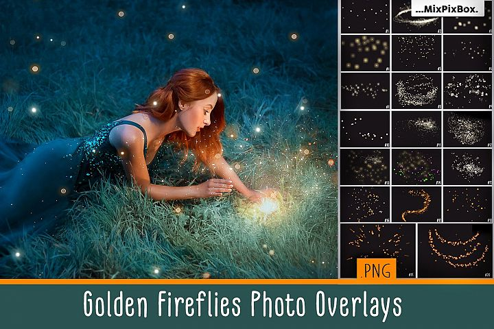 Golden Fireflies Photo Overlays